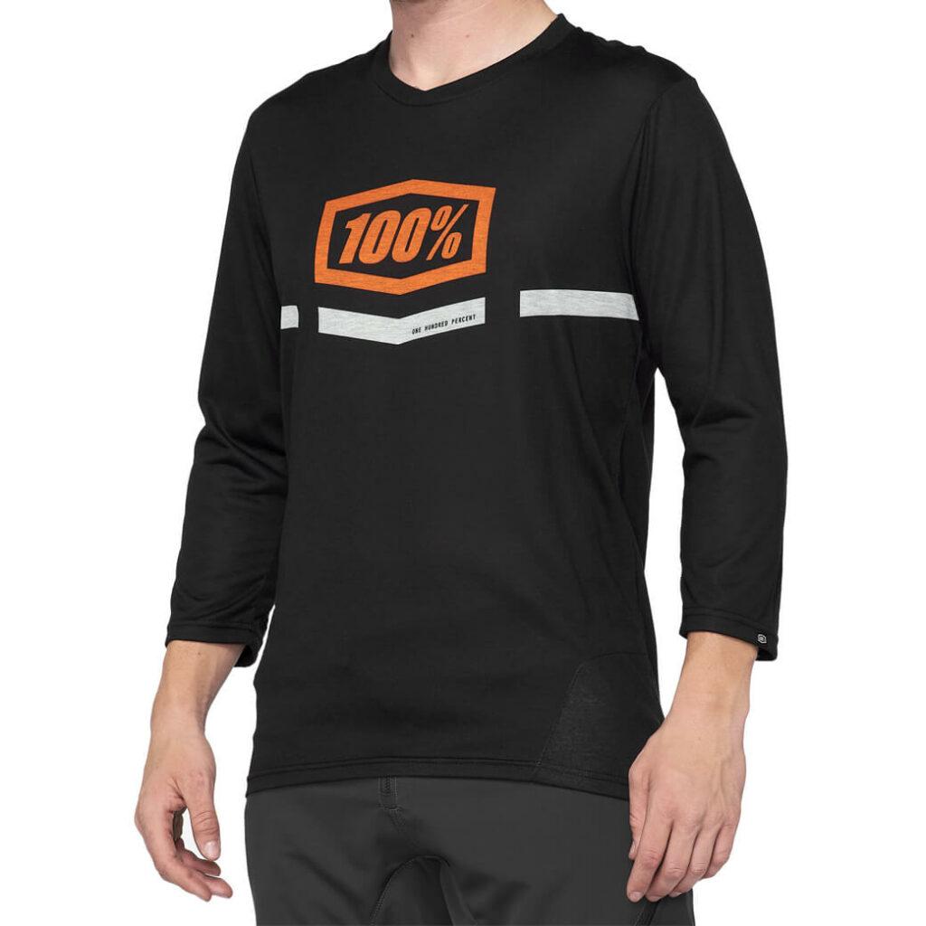 100% Airmatic 3/4 Sleeve Black/Orange